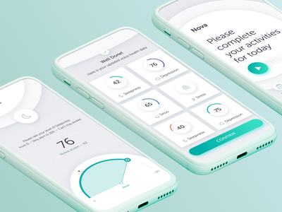 Healthcare App Trackers Design clean condition tracker ai audio diagnosis progress stats results medicare med health medical application android ios interaction digital ux ui