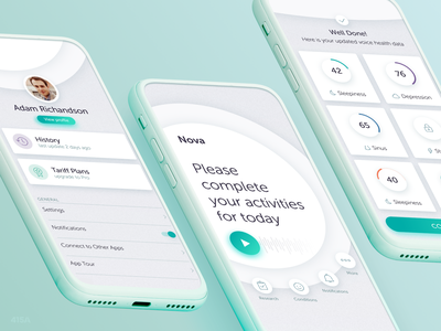 Nova Healthcare App diagnosis audio play home main profile statistic score results medicare med health medical application android ios interaction digital ux ui
