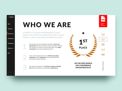 415Agency — Who we are story font winning menu website site presentation layout team company about awards logo typography branding interaction digital cx ux ui