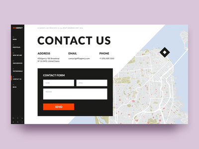415Agency Website — Contact Us navigation menu san francisco site presentation layout address pin form location map studio agency typography branding interaction digital cx ux ui