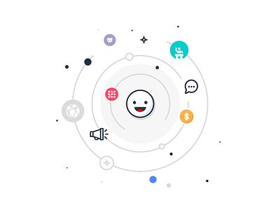 Social Network Profile Illustration round center communicate post repost communication community circle smile branding icon digital ui design