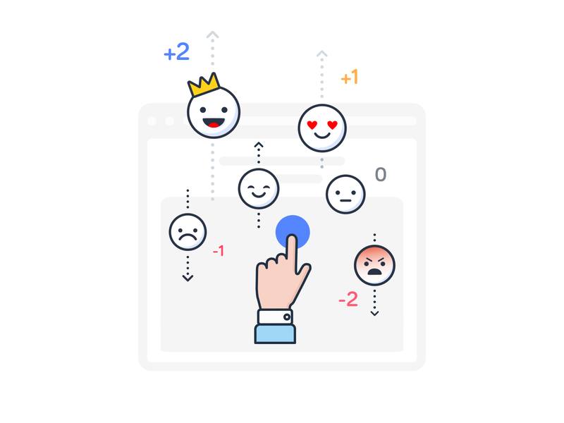 Social Network Emotions Illustration platform newsfeed network social opinion judge review dislike like hand estimate rating emoticon emotion smile design ui illustration branding icon