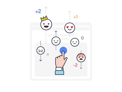Social Network Emotions Illustration platform newsfeed network social opinion judge review dislike like hand estimate rating emoticon emotion smile design ui illustration branding icon
