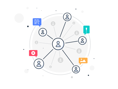 Social Network Community Illustration admin team moderate leader message user friendship opinion friend socials people group link communication communicate illustration branding icon digital ui