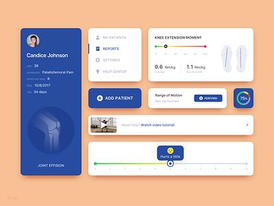 Healthcare App UI Patterns joint knee pain medicare health medical medicine med menu card profile scheme graph button menu detail android ios illustration digital ux