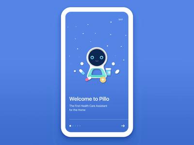 Pillo App Onboarding ai pill bright fun color branding illustration walkthrough motion ae animation gif medicare medical med health interaction digital ux ui