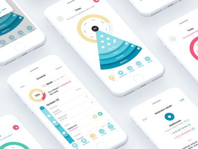 Pillo Healthcare App Screens statistics regimen schedule physician doctor patient treatment adherence pill medication medicine medicare med health interaction android ios ux digital ui