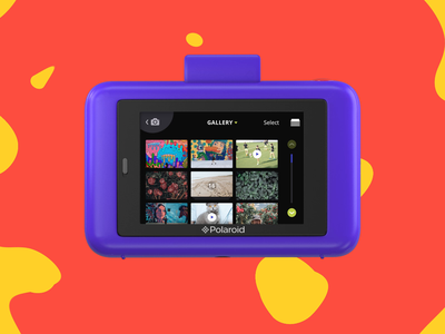 Polaroid Snap Touch Camera — Gallery States preview bulk burst video sorting photography storage folder empty state sort photo bright fun ae motion gif animation ui ux interface