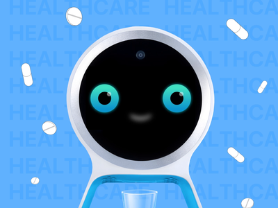 Pillo Home Healthcare Robot Emotions gif ai adherence pills ae animation motion eyes device custom meds medicare medical med health interaction ux design digital ui