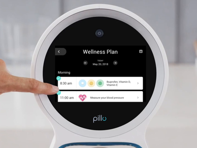 Pillo Home Healthcare Robot — Wellness Plan list pill routine popup notification schedule device custom animation medicare med medical health gif interaction icon ux digital design ui