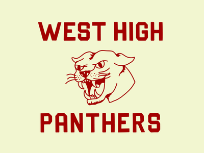 West High Panthers badge illustrator icon vector type logo illustration font design branding