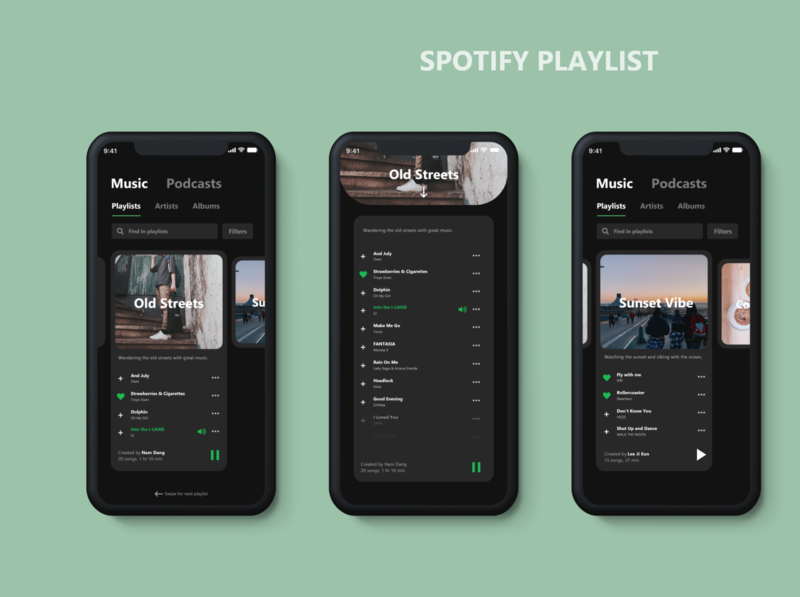 Spotify (Playlist Feature Redesign) user experience minimalist mobile ui adobexd ux design illustration graphic design adobe illustrator