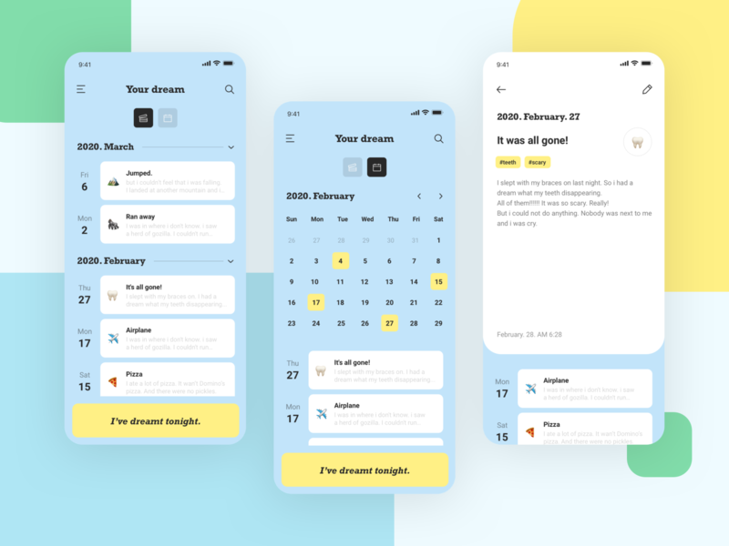 dream diary / light mode records journal concept dailyui emoji uiux dream list daily calendar diary mobile icon illustration app typography ux branding ui design