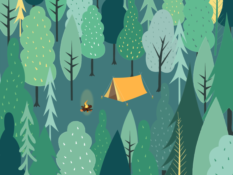 Little forest plant graphic design greenery green camping tent illustration tree forest