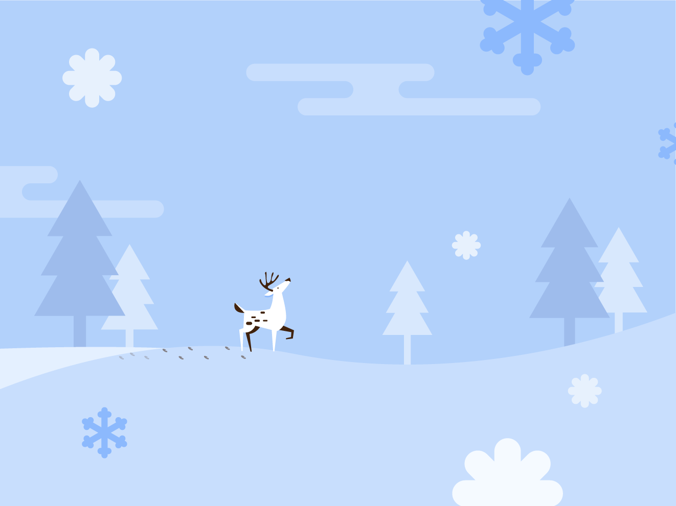 my lovely deer icon winter is coming deer ground blue snow christmas card christmas graphic tree illustration winter