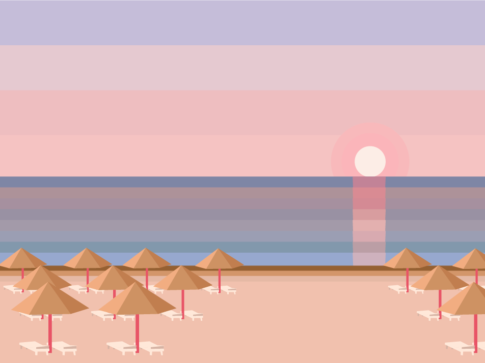 sunset pink color bars color holiday daylight delight tailland sunrise sunset recreation design beach seaside vacation summer illustration drawing sea