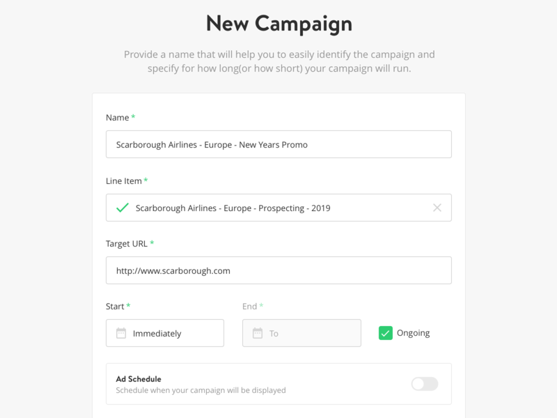 Campaign Creator/Editor campaign yieldr step-by-step display ad form input wizard editor