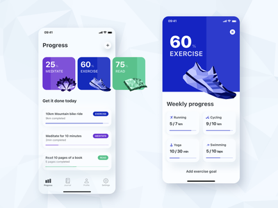 Habit Tracking App Concept colours glucode ui design progress read meditate exercise cards illustrations icons app mobile ux ui habit tracker