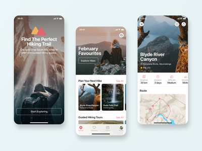 Hiking App Concept user interface minimal typography ui design explore onboarding map imagery hiking glucode ios mobile app design app mobile ux