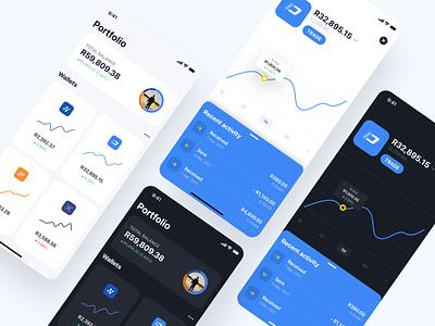 Crypto Wallet App Concept dashboard wallet light mode dark mode mobile ui design summary overview graph trade ux ui crypto wallet crypto