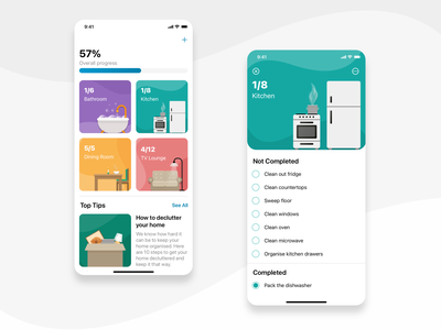Task Management App Concept tips glucode ios cards illustrations bright colorful checklist chores to-do task management ux design ui design ui  ux app