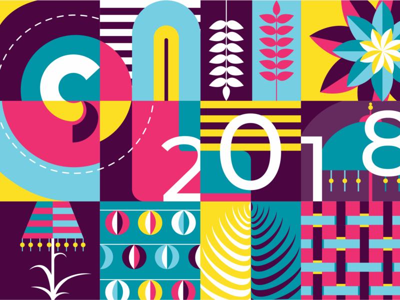 2018 Invitation Illustration shapes patterns 2018 colour glucode invitation illustration