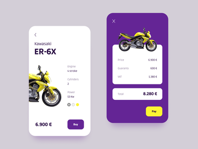 Motorcycle motorcycle minimal color price checkout pay buy app