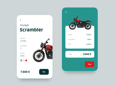 Motorcycle price cart checkout motorcycle app