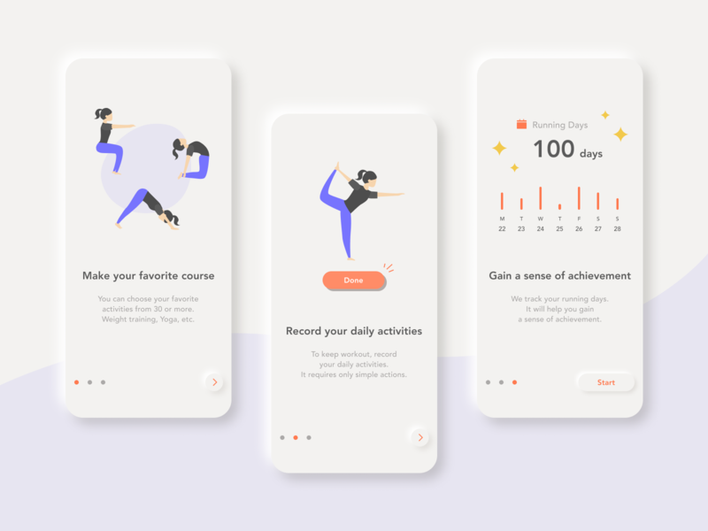 Onboarding - Workout app neumorphic neumorphism workout onboarding app ux daily 100 challenge dailyuichallenge daily ui dailyui