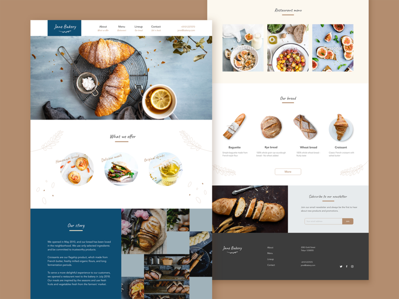 Landing page - Bakery shop webpage webdesign daily ui dailyui simple concept website bread bakery landingpage lp