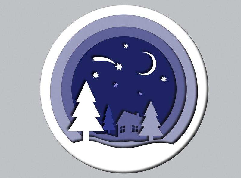 Winter Fairy star christmas papercut paper cut moon stars night fairy violet album web card illustration design flat vector winter