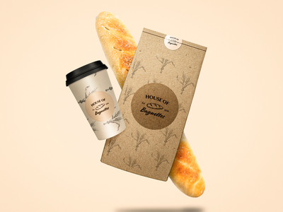 House of baguette packaging bakery bread branding logo