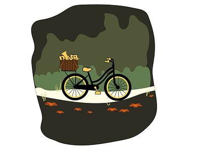 Bike in wood green illustrator woods delivery bike