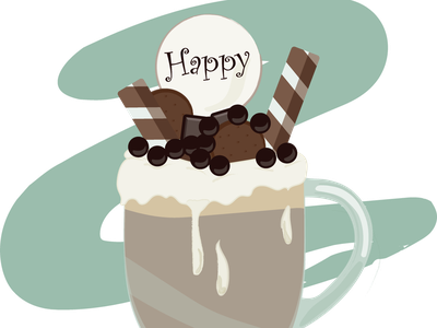 Cup of coffee illustration coffee cup coffee chocolate cream desert happiness happy sweets latte turquoise cup of coffee cup