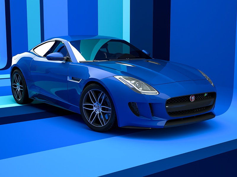 Jaguar F-Type - Retro Blue visualization rendering render lighting realistic cgi digital art automotive 3d car f-type jaguar