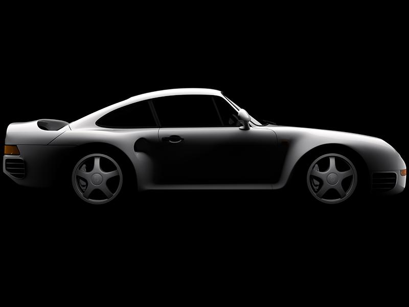 Porsche 959 - Side view print render 3d realistic cgi automotive car 959 porsche