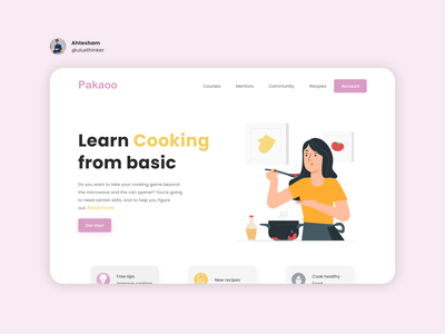 cooking web landing page cooldesign branding dailychallenge dailywebdesign cooking app daily 100 challenge dailyui simple illustration clean ui webuiuxdesign uiux webdesign website cooking