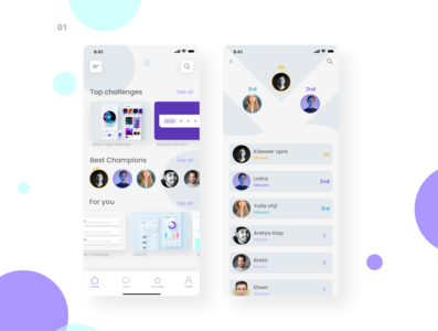 Challenges app Leaderboard daily ui 019 dailui019 leaderboard cool design dailyui daily 100 challenge dailywebdesign chat search branding uidesign ui  ux ui tabbar banner tabs card cardview challenge app challenge