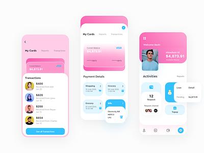 Online Banking mobile app UI design cool colors cool design transaction bank card card design glassmorphism banking dashboard banking ui wallet ui uiux pink wallet bankingapp