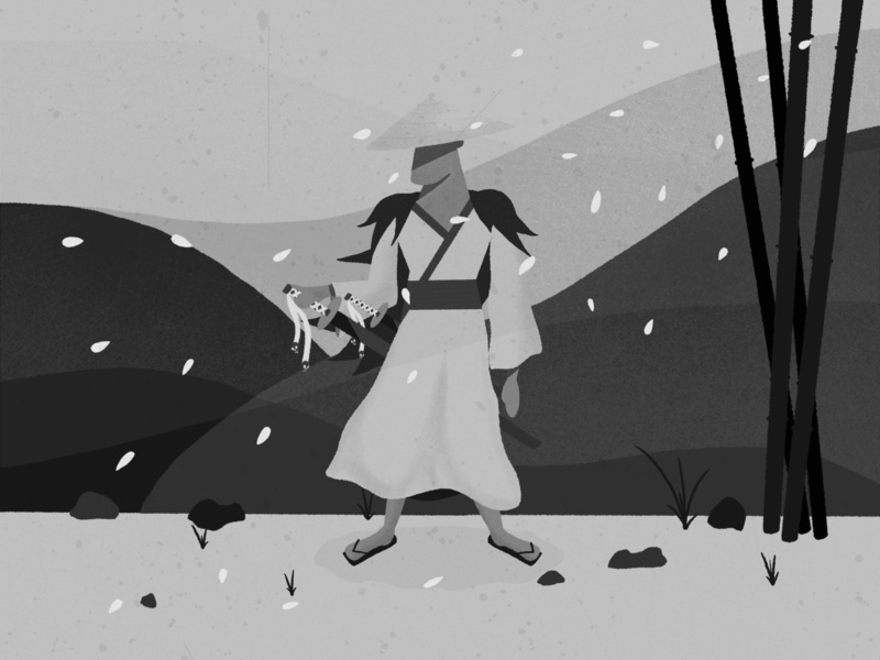The Ghost samurai japan minimalism kurosawa greyscale true grit texture supply fun illustrator artist procreate illustration digital painting digital illustration digitalart design