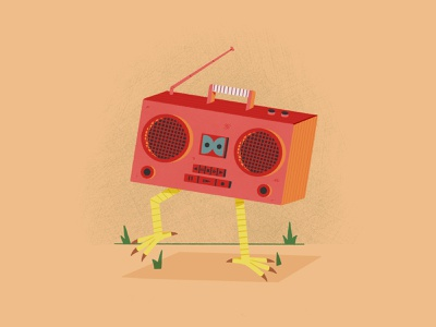 Inktober Day 4 Radio boombox chicken radio inktober2020 inktober true grit texture supply illustrator digitalart procreate illustration digital painting digital illustration