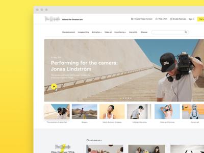 A filmmakers platform playlist film landing homepage navbar search carousel showreel ui yellow maker videos