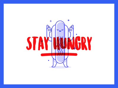 Stay Hungry  404 delivery food icon outline blu cute illustration hotdog