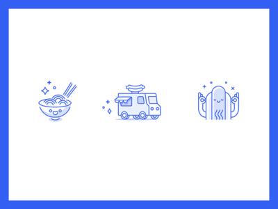 Feastit Icons line blu cute bowl truck hotdog food icons outline