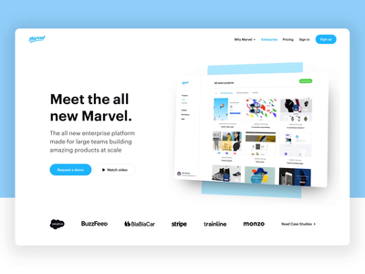 Marvel 3 user testing design tool prototyping enterprise landing  page landing marvelapp
