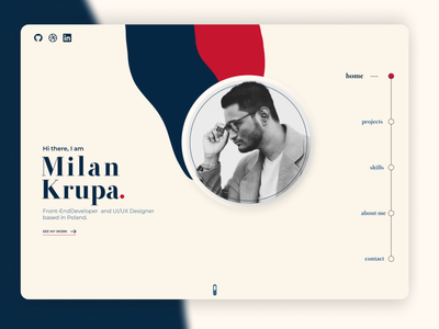 Milan Krupa - Home portfolio figma web ux ui minimal design