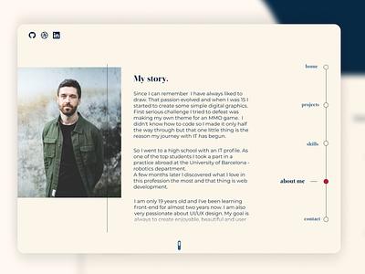 Milan Krupa - About me about me portfolio website web ux ui minimal design