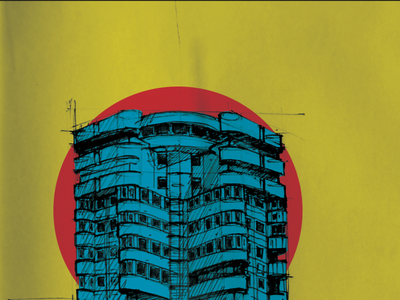 Constanta Tower Complex poster (mixed technique) architectural illustration vector illustration architecture poster 2d graphic design urban sketching digital art child style graphic design constanta poster digital posters creative content colorful illustration illustration geometric style digital poster poster