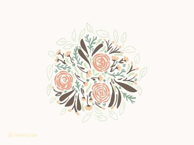 Autumn Bouquet minimal flat botanical illustration botanical art illustration drawing design