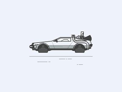 The B line art back to the future illustration delorean